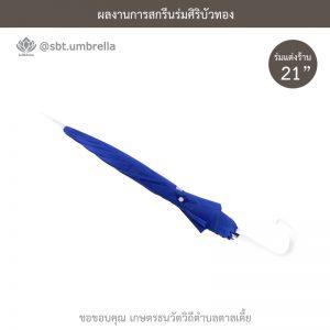 ร่มพรีเมียม ร่มตอนเดียว ขนาด 21 นิ้ว สีน้ำเงิน สกรีน เกษตรธนวัตวิถีตำบลตาลเตี้ย